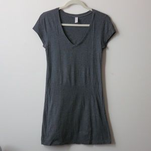 Short gray v-neck t-shirt dress